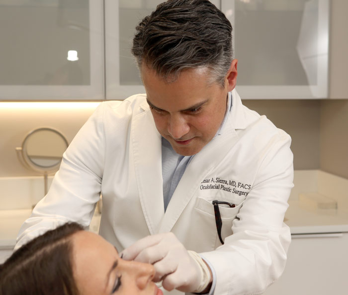 Dr. Sierra provides consultation for removal of eyelid skin tags